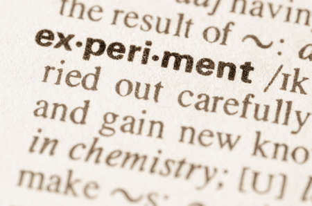 lexical: Definition of word experiment  in dictionary Stock Photo