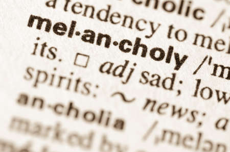lexical: Definition of word melancholy  in dictionary Stock Photo
