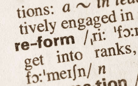 reform: Definition of word reform  in dictionary Stock Photo