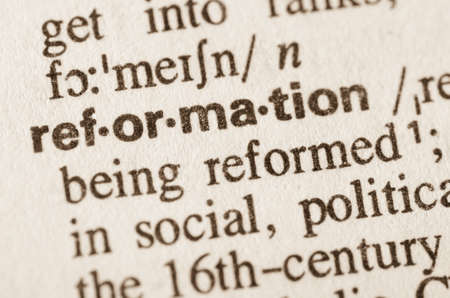 Definition of word rerformation in dictionary Banco de Imagens