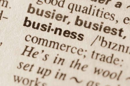 lexical: Definition of word business in dictionary Stock Photo