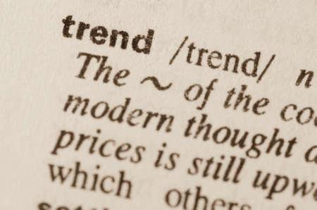 definición: Definición de tendencia palabra en el diccionario Foto de archivo