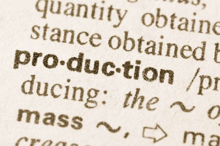 lexical: Definition of word production in dictionary Stock Photo