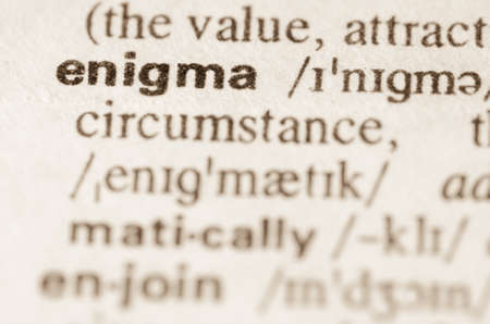 enigma: Definition of word enigma in dictionary Stock Photo