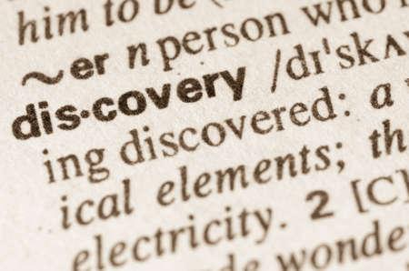 definicion: Definici�n de descubrimiento de la palabra en el diccionario Foto de archivo