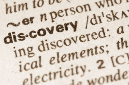 Definition of word discovery  in dictionary Stock Photo