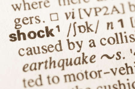 book of revelation: Definition of word shock in dictionary Stock Photo