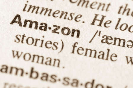 lexical: Definition of word Amazon in dictionary Stock Photo