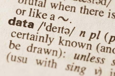 data dictionary: Definition of word data in dictionary Stock Photo