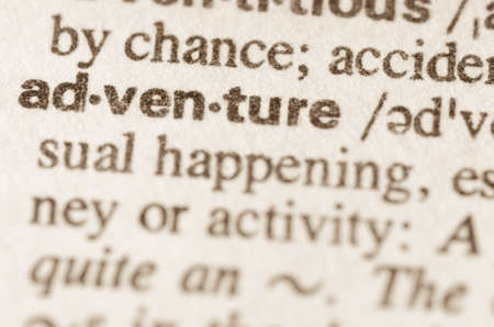lexical: Definition of word adventure in dictionary Stock Photo