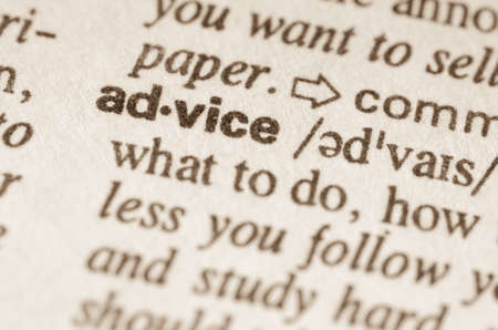 advice: Definition of word advice  in dictionary Stock Photo