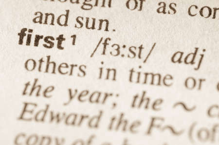 lexical: Definition of word first in dictionary Stock Photo