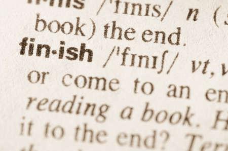 definicion: Definici�n de acabado de la palabra en el diccionario Foto de archivo