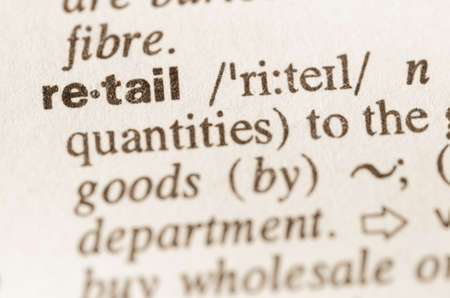 lexical: Definition of word retail in dictionary Stock Photo