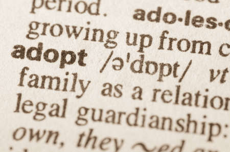 assume: Definition of word adopt  in dictionary Stock Photo