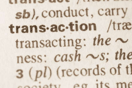 lexical: Definition of word transaction in dictionary Stock Photo