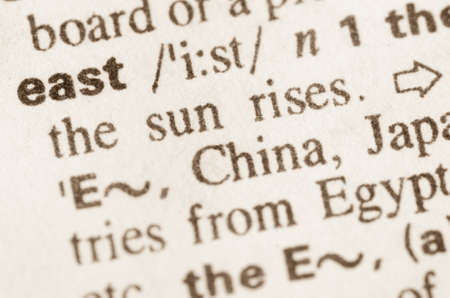 eastward: Definition of word east in dictionary Stock Photo