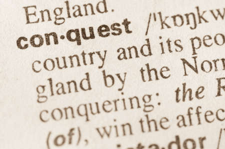definicion: Definición de la palabra en el diccionario de la conquista Foto de archivo