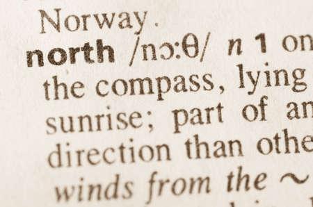 definición: Definición de la palabra en el diccionario de norte Foto de archivo