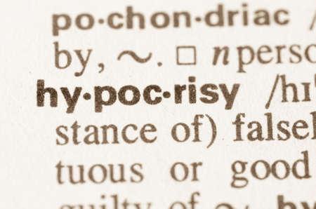 hipocres�a: Definici�n de la palabra en el diccionario de la hipocres�a Foto de archivo
