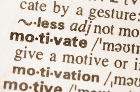 definition: Definition of word motivate in dictionary Stock Photo