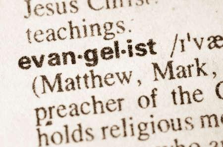 evangelist: Definition of word evangelist in dictionary Stock Photo