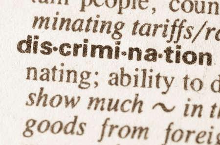 discriminacion: Definici�n de discriminaci�n de palabras en el diccionario Foto de archivo