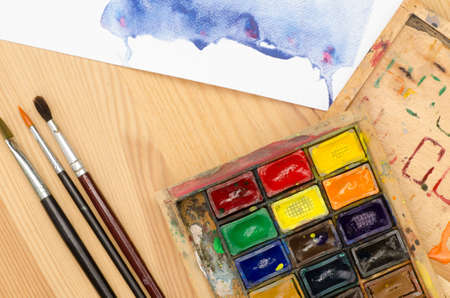 paintbox: watercolor palette in wooden paintbox