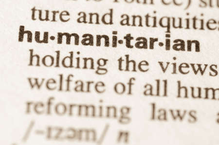 lexical: Definition of word  humanitarian in dictionary Stock Photo