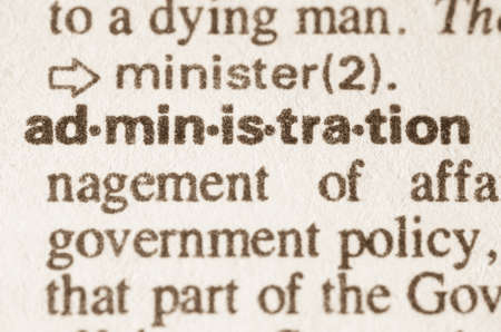 Definition of word administration   in dictionary 版權商用圖片
