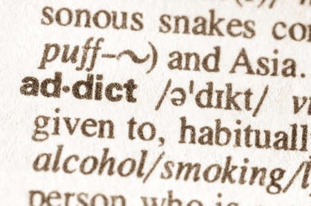 druggie: Definition of word addict  in dictionary Stock Photo