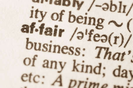 affair: Definition of word affair in dictionary Stock Photo