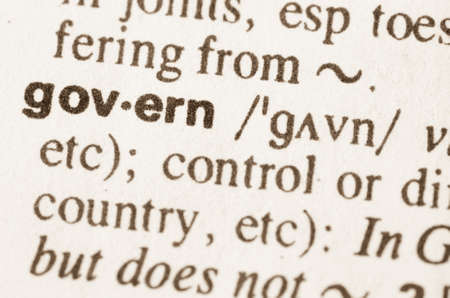 govern: Definition of word govern  in dictionary Stock Photo