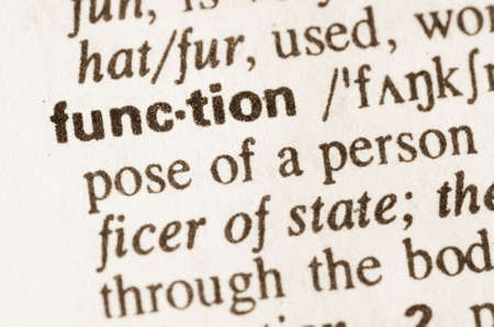 lexical: Definition of word function  in dictionary Stock Photo