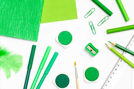 pedantic: color school supplies on white paper background Stock Photo