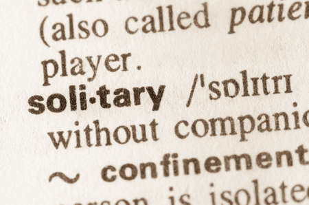 friendless: Definition of word solitary  in dictionary Stock Photo