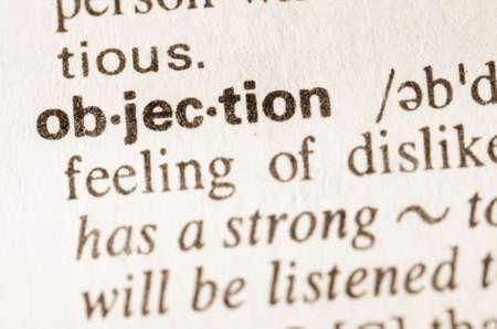 objecion: Definici�n de la palabra en el diccionario de la objeci�n