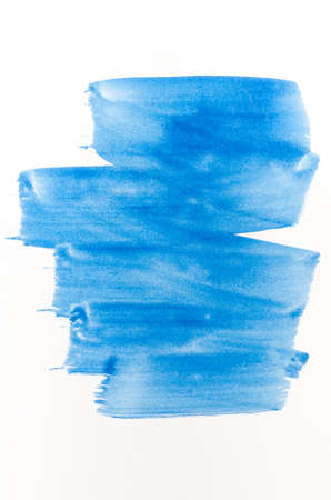 tempera: blue watercolor painted texture on white background paper
