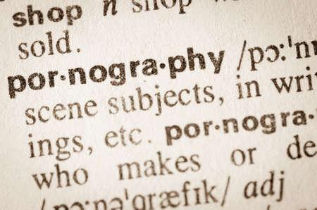 Definition of word pornography in dictionary Archivio Fotografico