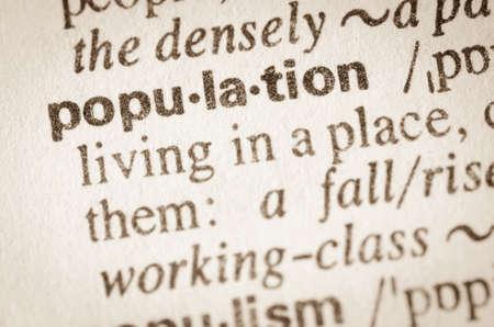 definición: Definición de la población palabra en el diccionario Foto de archivo