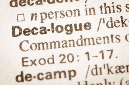 bible ten commandments: Definition of word Decalogue in dictionary Stock Photo