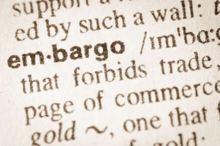 injunction: Definition of word embargo in dictionary