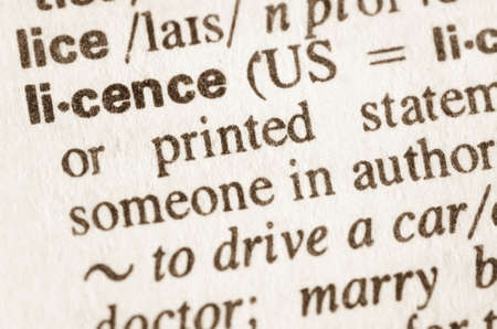 licence: Definition of word licence  in dictionary Stock Photo
