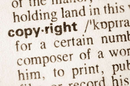 definicion: Definici�n de los derechos de autor palabra en el diccionario Foto de archivo
