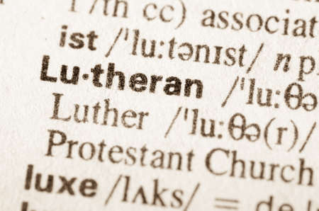 lexical: definition of word Lutheran in dictionary Stock Photo