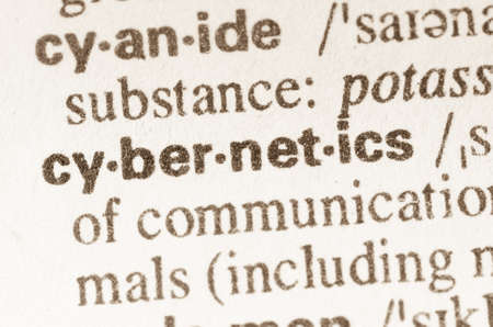 cybernetics: Definition of word cybernetics  in dictionary Stock Photo