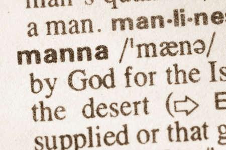 definición: Definición de maná palabra en el diccionario Foto de archivo