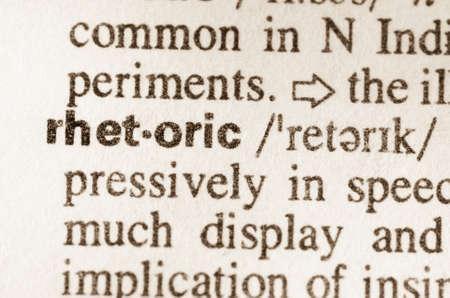 rhetorical: Definition of word rhetoric in dictionary Stock Photo
