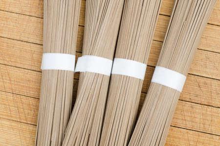 soba noodles: raw japanise buckweat soba noodles