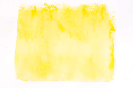 paint: yellow watercolor painted background texture on white paper Stock Photo